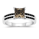 1.41 Cts Champagne & Black Diamond Engagement Ring in 14K White Gold