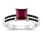 0.31 Cts Black Diamond & 1.04 Cts Ruby Engagement Ring in 14K White Gold