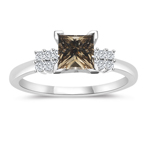 1.34 Cts White & Princess Champagne Diamond Engagement Ring with Side-Stones in 14K White Gold