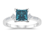 1.30 Cts White & Princess Blue Diamond Engagement Ring with Side-Stones in 14K White Gold