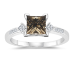 1.30 Cts White & Princess Champagne Diamond Engagement Ring with Side-Stones in 14K White Gold