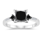 1.22-1.72 Cts Black & White Diamond Engagement Ring in 14K White Gold