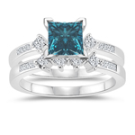 1.58 Cts Blue & White Diamond Matching Ring Set in 14K White Gold