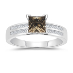 1.58 Cts White & Princess Champagne Diamond Engagement Ring with Channel Set Side-Stones in 14K White Gold