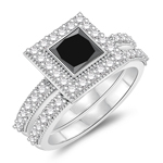 1.32-1.60 Cts Black & White Diamond Matching Ring Set in 14K White Gold