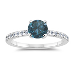 1.26 Cts Blue & White Diamond Engagement Ring in 14K White Gold