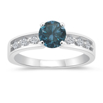 1.28 Cts Blue & White Diamond Engagement Ring in 14K White Gold