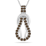 0.29 Cts Champagne Diamond Love Knot Pendant in 14K White Gold