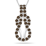 0.96 Cts Champagne Diamond Pendant in 14K White Gold