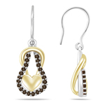 0.48 Cts Champagne Diamond Heart Love Knot Earrings in 14K Two Tone Gold
