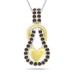 0.33 Cts Champagne Diamond Heart Love Knot Pendant in 14K Two Tone Gold