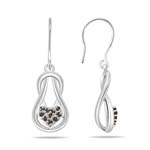 0.13 Cts Champagne Diamond Heart Love Knot Earrings in 14K White Gold