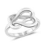 Heart Love Knot Ring in 14K White Gold