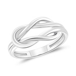 Classic Satin Finished Love Knot Ring in 14K White Gold