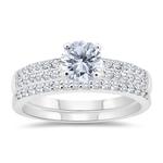 1.40 Cts Diamond Engagement & Wedding Ring Set in 14K White Gold
