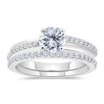 1.41 Cts Diamond Engagement & Wedding Ring Set in 14K White Gold