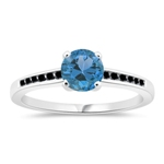 0.14 Cts Black Diamond & 1.14 Cts Swiss Blue Topaz Engagement Ring in 14K White Gold