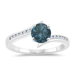 1.21 Cts Blue & White Diamond Engagement Ring in 14K White Gold