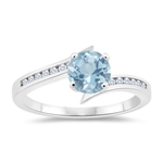 0.11 Cts Diamond & 0.72 Cts AA Aquamarine Engagement Ring in 14K White Gold