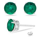 3/4 Cts of 5 mm Round AA Russian Lab Created Emerald Stud Earrings in Silver