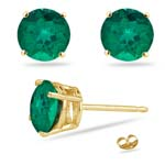 0.38-0.58 Cts of 4 mm AAA Round Russian Lab Created Emerald Stud Earrings in 14K Yellow Gold