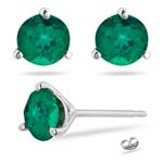 0.76-1.18 Cts of 5 mm AAA Round Russian Lab Created Emerald Stud Earrings Martini-set in 14K White Gold