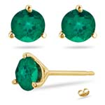 0.81-1.16 Cts of 5 mm AAA Round Russian Lab Created Emerald Stud Earrings Martini-set in 14K Yellow Gold