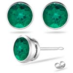 3.01-4.12 Cts of 8 mm AAA Round Russian Lab Created Emerald Stud Earrings in 14K White Gold