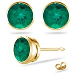 0.20-0.23 Cts of 3 mm AAA Round Russian Lab Created Emerald Stud Earrings in 14K Yellow Gold