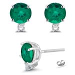0.04 Cts Diamond & 0.47-0.51 Cts of 4 mm AAA Round Russian Lab Created Emerald Stud Earrings in 14K White Gold
