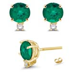 0.06 Cts Diamond & 1.30-1.52 Cts of 6 mm AAA Round Russian Lab Created Emerald Stud Earrings in 14K Yellow Gold