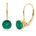 0.15-0.25 Cts of 3 mm AAA Round Russian Lab Created Emerald Stud Earrings in 14K Yellow Gold