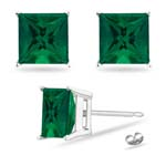 3.94-5.39 Cts of 8 mm AAA Princess Russian Lab Created Emerald Stud Earrings in 14K White Gold