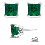 0.25-0.32 Cts of 3 mm AAA Princess Russian Lab Created Emerald Scroll Stud Earrings in 14K White Gold