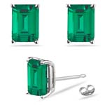 0.38-0.65 Cts of 5x3 mm AAA Emerald-Cut Russian Lab Created Emerald Stud Earrings in 14K White Gold