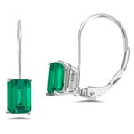 3.73-4.90 Cts of 9x7 mm AAA Emerald-Cut Russian Lab Created Emerald Stud Earrings in 14K White Gold