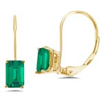 3.73-4.92 Cts of 9x7 mm AAA Emerald-Cut Russian Lab Created Emerald Stud Earrings in 14K Yellow Gold