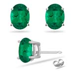0.36-0.50 Cts of 5x3 mm AAA Oval Russian Lab Created Emerald Stud Earrings in 14K White Gold