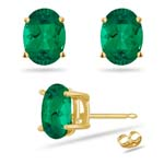 3.21-3.43 Cts of 9x7 mm AAA Oval Russian Lab Created Emerald Stud Earrings in 14K Yellow Gold