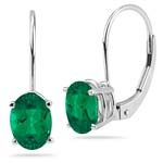 1.45-1.65 Cts of 7x5 mm AAA Oval Russian Lab Created Emerald Stud Earrings in 14K White Gold