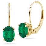 3.21-3.64 Cts of 9x7 mm AAA Oval Russian Lab Created Emerald Stud Earrings in 14K Yellow Gold