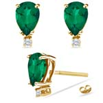 0.06 Cts Diamond & 3.38-3.51 Cts of 10x7 mm AAA Pear Russian Lab Created Emerald Stud Earrings in 14K Yellow Gold
