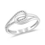 Plain and Rope Pattern Love Knot Ring in 14K White Gold