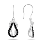Black Diamond Rope Love Knot Earrings in 14K White Gold