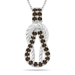 0.13 Cts Champagne Diamond Love Knot Pendant in Rope-Design 14K White Gold
