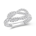 Rope Love Knot Ring in 14K White Gold