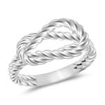 Rope Pattern Love Knot Ring in 14K White Gold