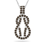 0.56 Cts Champagne Diamond Love Knot Pendant in 14K White Gold