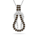 0.29 Cts Champagne Diamond Rope Love Knot Pendant in 14K White Gold