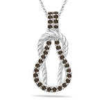 0.35 Cts Champagne Diamond Rope Love Knot Pendant in 14K White Gold